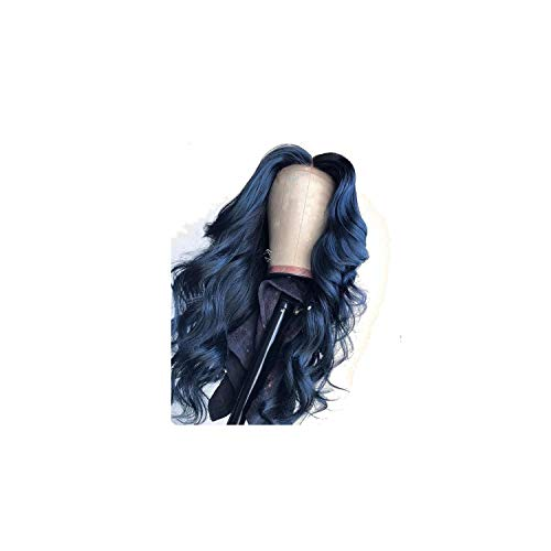 13X6 Deep Part Blue Colored Lace Front Human Hair Wigs Loose Wave Full Lace Frontal For Black Women Preplucked Can Make 360 Bun,22inches,360 Lace Frontal Wig