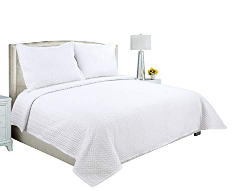 Beauty Sleep Bedding Embroidered 3 Pieces Luxury Reversible Quilt Set with 2 Quilted Shams, White Color, King Size