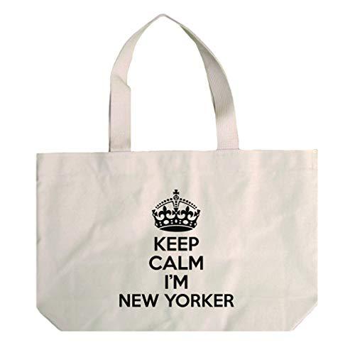 (Keep Calm, I'M New Yorker New York Cotton Canvas Beach Tote Bag)