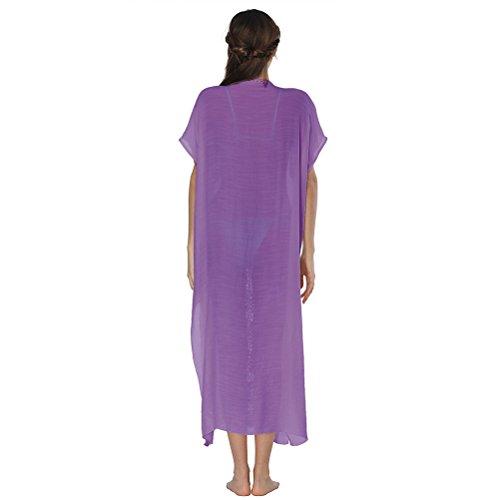 Donne Up da Camicetta Beachwear Vestito Purple Cardigan Floreale Spiaggia Bagno Cover Kimono Coprire Nuotare Costume Zhuhaitf Sunscreen Estate Lungo TdRnqFq