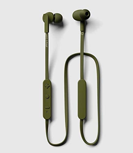 JAYS t-Four Wireless in-Ear Bluetooth Earbuds w Kevlar Reinforced Cable, Deep Bass, Microphone and 10hrs of Playback Green