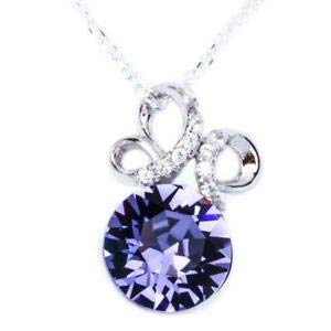 Fancy Round Tanzanite & Cz 925 Sterling Silver Pendant Necklace W/Chain - Jewelry Accessories Key Chain Bracelet Necklace - Round Tanzanite Set Pendant