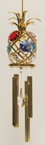24K Gold Plated Wind Chime Sun Catcher or Ornament..... Pineapple With Mixed Color Swarovski Austrian Crystal -  Mascot International Inc, Berkeley, CA