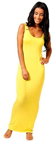 Crazy Girls Womens Plain Muscle Racer Back Sleeveless Bodycon Long Maxi Dress