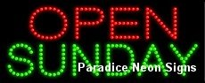 Open Sunday LED Sign 11 x 27 (Open Sunday Neon Sign)