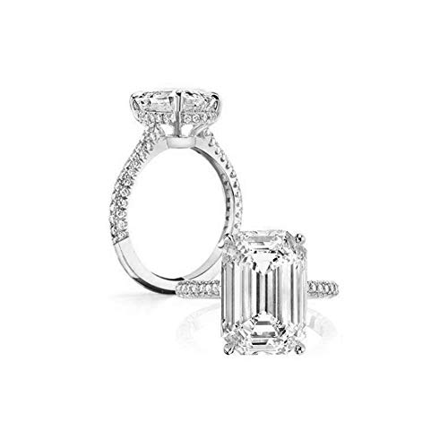 Erllo 6 Carats Emerald Cut Cubic Zirconia CZ Rhodium Plated Sterling Silver Simulated Diamond Wedding Engagement Ring (7.5)