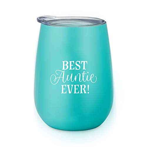 Best Auntie Ever - 10 oz Stainless Steel Stemless Wine Glass with Lid - Wine Tumbler Sippy Cup for Adults - Great Aunt Gift by SassyCups