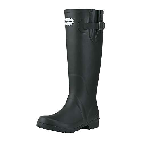 JOYCORN Women's Wellies Rain Boots Original Waterproof Knee-High,(Black,6 B M US) - Original Wellie Rain Boots
