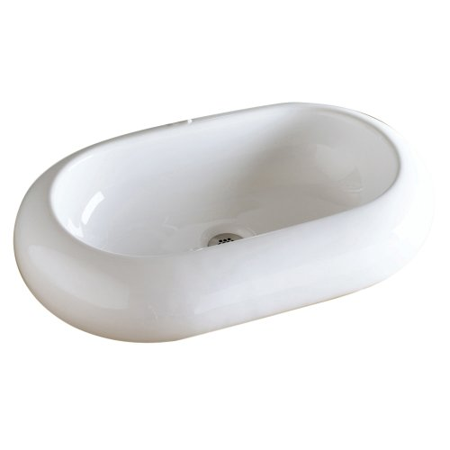(Decolav 1485-CWH Oval Vitreous China Above-Counter Vessel, White)