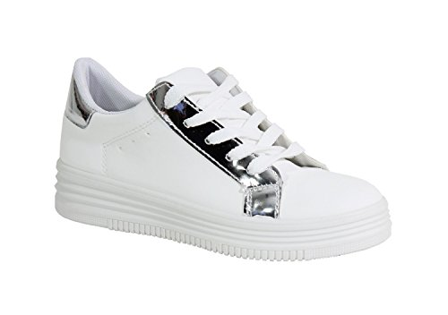 Tennis Blanc By Shoes Plateforme Femme Style Cuir znqZ5cqO