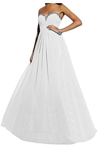 40 Party lontano sposa cuore giovane Bete sera di Ball completamente vestimento elegante sposa forma abito Chiffon a bianco lungo Toscana OYPRpHW6W