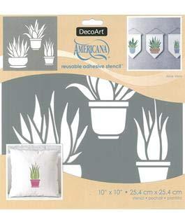 Decoart ASMM115-Y Adh Stencil 10x10 Aloe Vera