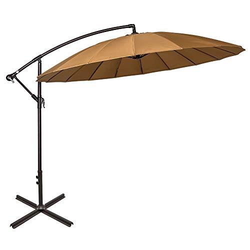 Sundale Outdoor 9ft Aluminum Offset Patio Umbrella with Crank and Cross Bar Set, Cantilever Umbrella for Deck, Garden, Backyard, 18 Fiberglass Ribs, 100% Polyester Canopy Shade (Tan)