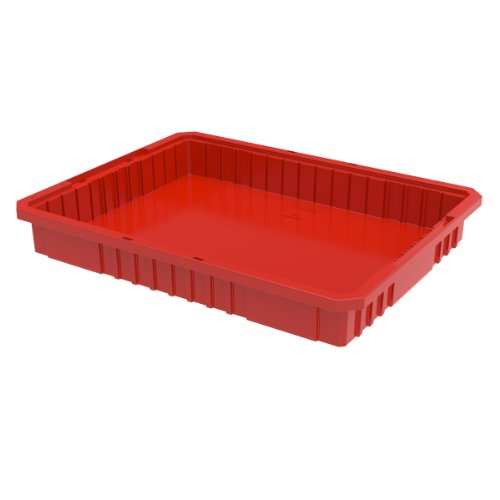 Akro-Mils 33223 2-1/2 -Inch L by 17-3/8-Inch W by 3-Inch H Akro-Grid Slotted Divider Plastic Tote Box, Red, Case of 6