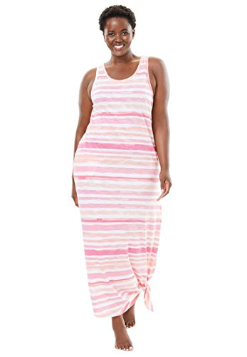Dreams & Co. Women's Plus Size Long Sleeveless Lounger - Multi Pink Stripe, (Stripe Long Lounger)
