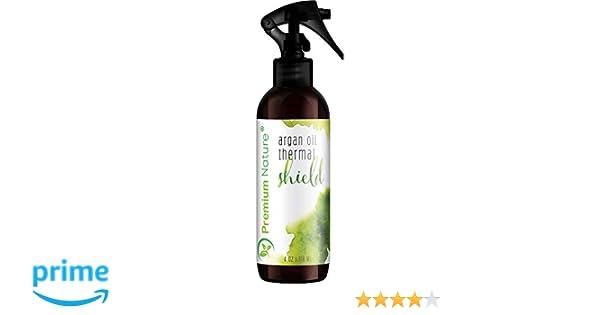 Aceite de Argán Cabello pantalla Spray - 118 ml Protector de calor térmico contra soporte de hierro - Sulfato libre 100% orgánico y natural evita daños ...
