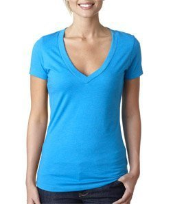 Next Level Womens CVC Deep V Tee 6640 -TURQUOISE 2XL -