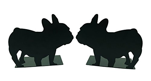 Lemon Breeze Adorable French Bull Dog Nonskid Metal Bookends Book Ends Stand Support for Books DVDs Video Games Magazines Office School Library Bookshelf Desktop Decoration Birthday ()