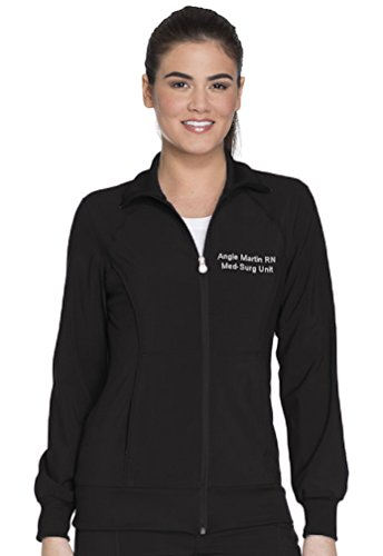 Cherokee Scrubs Embroidered Women's Infinity Zip Front Warm-up Jacket (Style 2391A, Black, L)