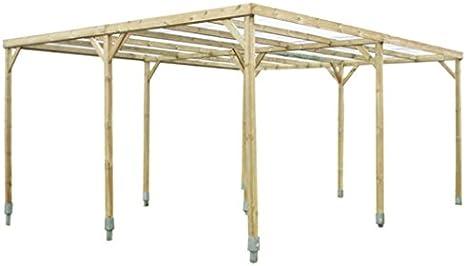 Carport Autoclave 2 coches de madera con tejado plano con ...