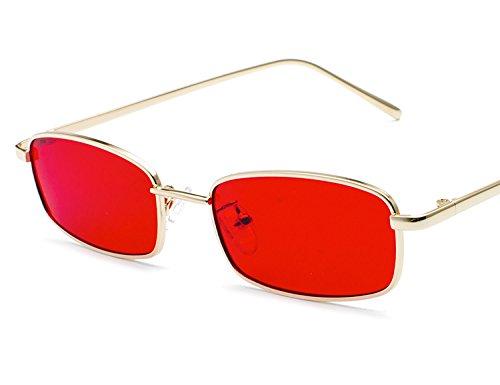 Lunettes soleil UV400 Mode Rectangulaire Métal Ultra Vintage lunettes Bmeigo Red B3 Femme Rétro léger Unisex de FnUEPd