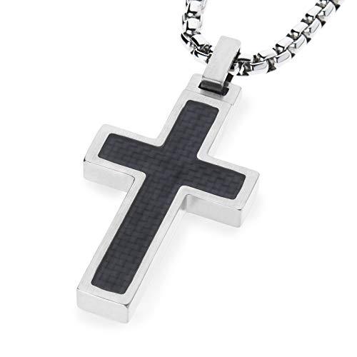Unique GESTALT Titanium Cross Necklace with Black Carbon Fiber Inlay. 26 inch Stainless Steel Chain. ()
