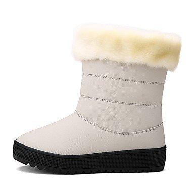 DESY Mujer Botas Botas de nieve Botas de Moda PU microfibra sintético Invierno Casual Con Cordón Tacón Plano Negro Beige Plano beige