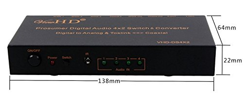 ViewHD Prosumer Digital Audio 4x2 Switch & Converter | 2CH Stereo Digital to Analog Audio Converter | Bi-Directional Toslink to Coaxial Digital Audio Converter | -