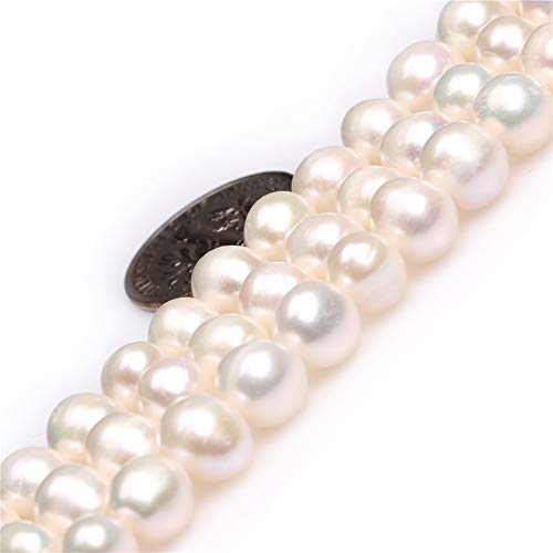 Joe Foreman Freshwater Cultured Pearl Beads for Jewelry Making Natural Gemstone Semi Precious 7-8mm White Genuine 15