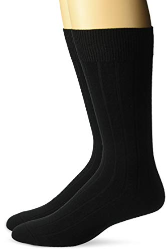 BUTTONED DOWN Men's 2-Pack Merino Wool Dress Socks, Black, Shoe Size: 8-12