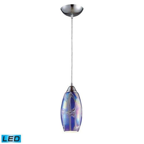 Elk 10076/1SBI-LED Iridescence 1-LED Light Pendant with Storm Blue Glass Shade, 5 by 11-Inch, Satin Nickel Finish