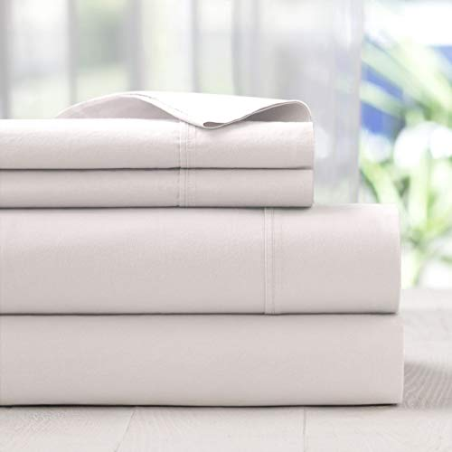 S L Home Fashion Laurence White 300 Thread Count 100% Cotton Sheet Set Queen