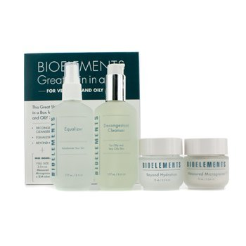 Bioelements Great Skin In A Box (Very Oily & Oily Skin): Decongestant Cleanser + Equalizer + Measured Micrograins + Beyond Hydration 4pcs