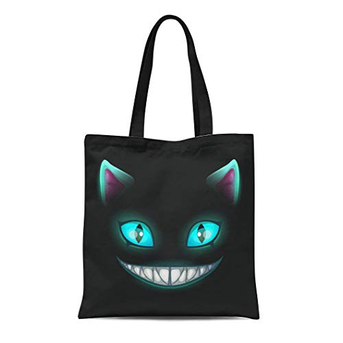 (Semtomn Canvas Bag Resuable Tote Grocery Adorable Shopping Portablebags Blue Smile Fantasy Scary Smiling Cat Face on Black Cheshire Alice Eyes Fairy Hor Natural 14 x 16 Inches Canvas Cloth)