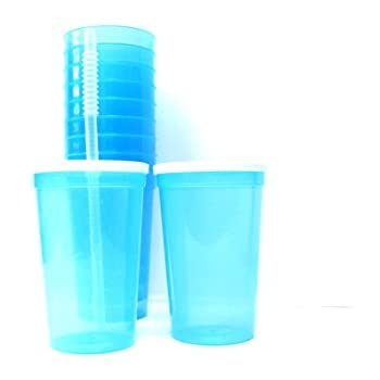 talisman 20 ounce plastic drinking glasses lids and straws 14 pack translucent blue