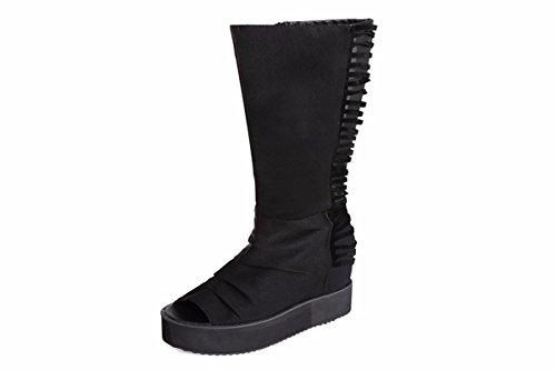 KPHY Pretty/Zapatos de Mujer/Primavera Y Otoño Zapatos De Mujer Respiraba De Gasa De Boca De Pescado Frío De Alta Pendiente Y Botas Botas Zapatos De Fondo Grueso Bizcocho.Treinta Y Ocho Black