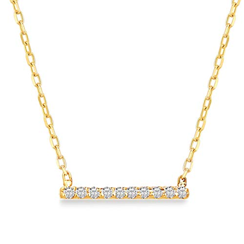 - 14k Solid Gold 0,03 ct Diamond Bar Pendant Necklace for Women, Certified Fine Jewellery Gift for Valentine's Day, 18 inch