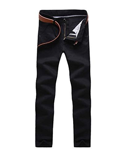 Hommes Casual Élastique Extérieures Noir Poches Activant Mode Unie Slim Des Pantalon Chinois Couleur Avec qXtRnA