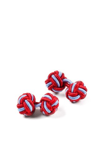 Red Polyester Cufflink | Red & Light Blue Knot (Light Blue Knot Cufflink)