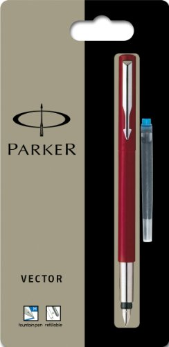 Parker Vector Standard Red Fountain Pen Medium Nib, Blue Ink