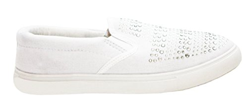 Womens Ladies DEK Slip On Diamante Twin Gusset Canvas Casual Girls Plimsolls Pumps Trainers Loafers Shoes UK Sizes 3-8 White WstlxMidf