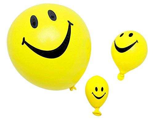 Funsational Set of 8 12-Inch Helium-Quality Smiley Face Balloons -