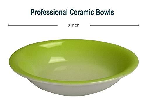 Green Pasta Bowl - Bestone Salad/Soup Bowls Set of 8,Porcelain 20 Ounce,Green