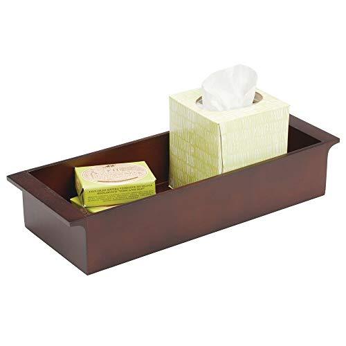 mDesign Deep Bamboo Storage Organizer Tray Bin with Handles, Eco-Friendly, Multipurpose; Use on Bathroom Vanity, Countertop, Toilet Tank - Stackable, 16