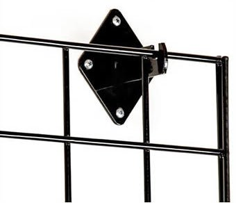Grid Wall Mount Brackets for Grid or Slat Grid Panels Box of 12 Pcs Black Color