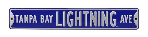NHL Tampa Bay Lightning Premium Grade Solid SteelEmbossed Prime Wall Decor Avenue Sign, Team Color, - Tampa Ave