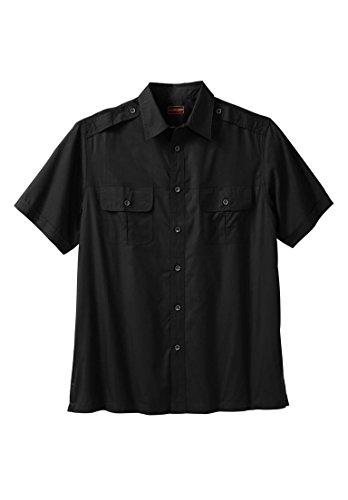 Boulder Creek Men's Big & Tall Short Sleeve Pilot Shirt, Black (Big Tall Dress Clothes)