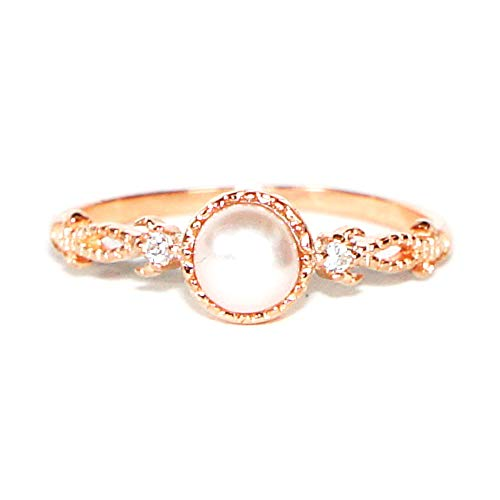 (Gieschen Jewelers ARABELLA Rose Gold-Plated .925 Sterling Silver CZ and Simulated Pearl Ring, Size 8)
