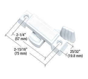 CRL White Sliding Window Lock; 2-1/4'' Screw Holes 3/8'' Latch Projection - Bulk Pack by CRL
