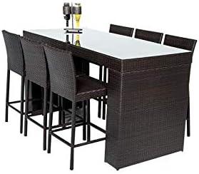 TK Classics BARTABLE-WITHBACK-6 Belle Bar Furniture Dining Set, Espresso